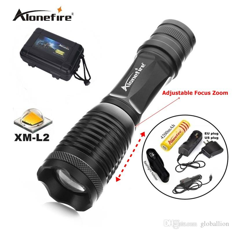 100% AUTHENTIC E007 CREE XML L2 2200Lm 5 Mode Zoom rechargeable CREE LED Flashlight torches lamp+1x18650 Battery charger/car charger/Holster