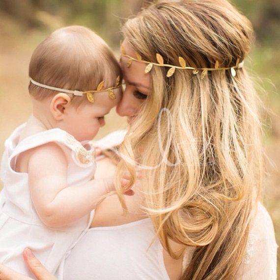 2pcs / set Neue Mama und Baby Gold Silber Blatt Stirnband Set für Haar-Accessoires Frieden Olive Branch Baby Netter Blätter Hair