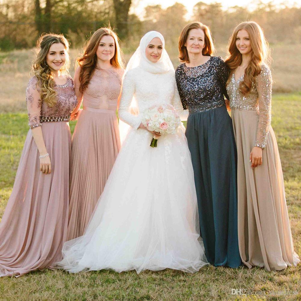 A-line Lace Applique Muslim Long Sleeves Full Back Wedding Dress with Sweep Train Outside Bridal Dress with kerchief