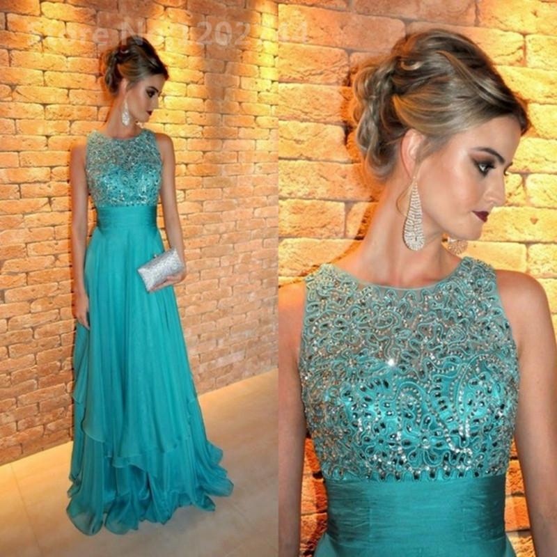 Turquoise Green Crystal Long Evening Dresses Arabic Dubai Chiffon back Zipper Floor Length Formal Prom party Gowns vestidos de festa