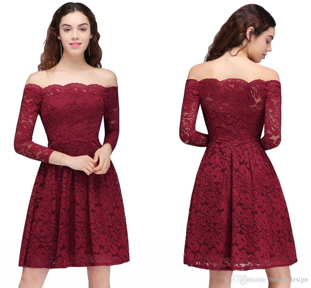 2018 새로운 디자인 레이스 부르고뉴 파티 홈 커밍 드레스 빈티지 오프 어깨 긴 소매 무릎 길이 칵테일 홈 커밍 드레스 CPS694