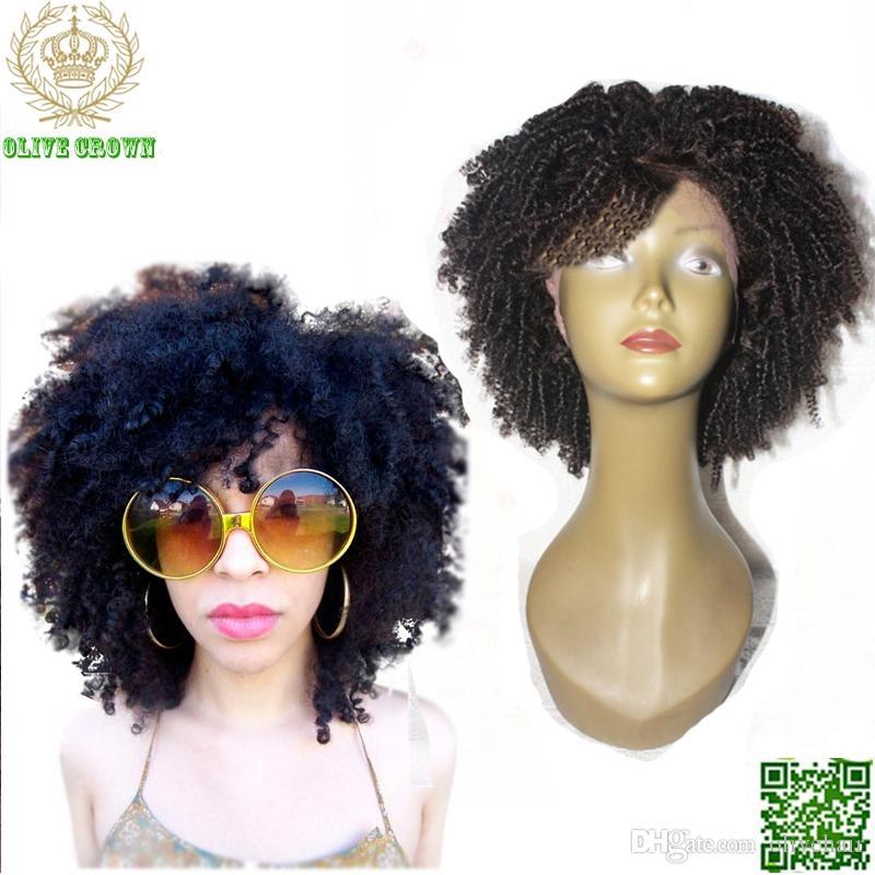 Peluca brasileña del frente del cordón del pelo corto Pelucas afros rizadas rizadas del cabello humano del cordón humano del pelo humano sin procesar Peluca rizada rizada