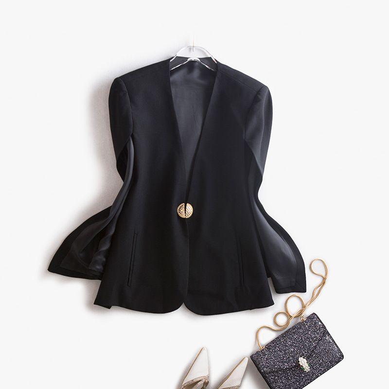 Cape Metallknopf Beiläufige Frauen V Jacke Großhandel Mantel Outwear Herbst Lose Typ Neue Winter Fashion Damen Ausschnitt Mantel Top 2017 Einfarbig oWrCBdxe