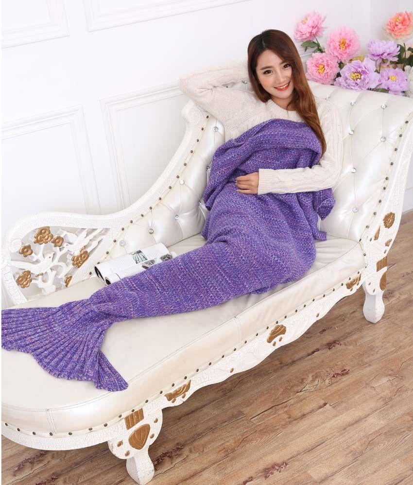 Yarn Knitted Mermaid Tail Blanket Handmade Crochet Mermaid Blanket Kids Throw Bed Wrap Super Soft Sleeping Bed X184 (3)