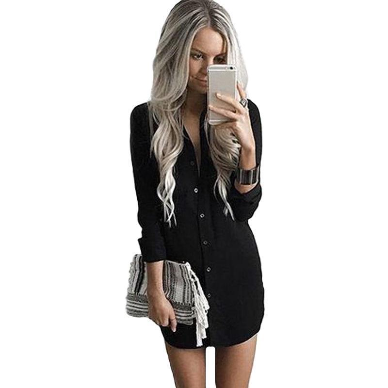 Fahsion 여성 드레스 2019 가을 솔리드 인쇄 고품질 블랙 드레스 여성 V 넥 미니 캐주얼 비치 Vestidos 옷