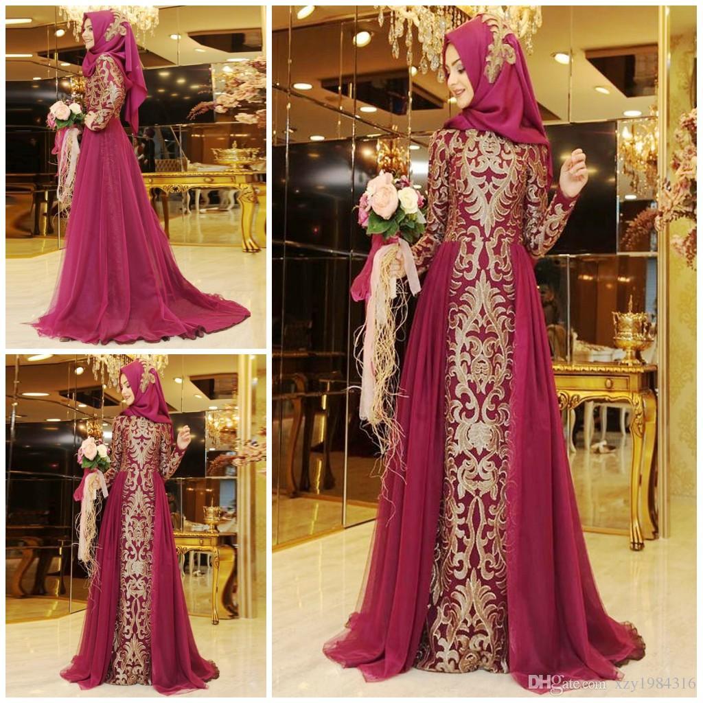 Robe de demoiselle d'honneur musulmane profonde fuchsia avec chapeau col bijou à manches longues appliques doré jolie robe de soirée