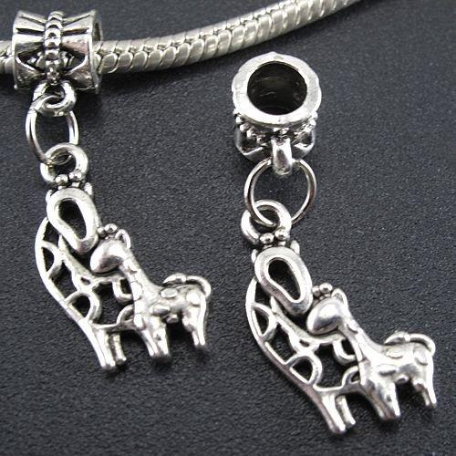 100PCS argent tibétain cerf Pendentifs Charms Dangle Perles Bracelet Fit Europe 30mm