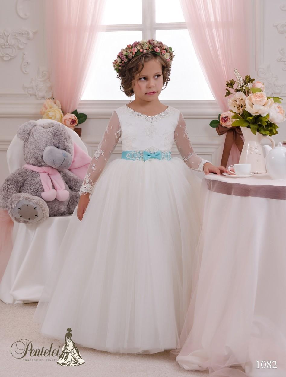 2016 키즈 졸업 드레스 긴 소매 및 활 새틴 골치 아픈 건 Tulle Ballgown Flower Girls Gowns Custom Made
