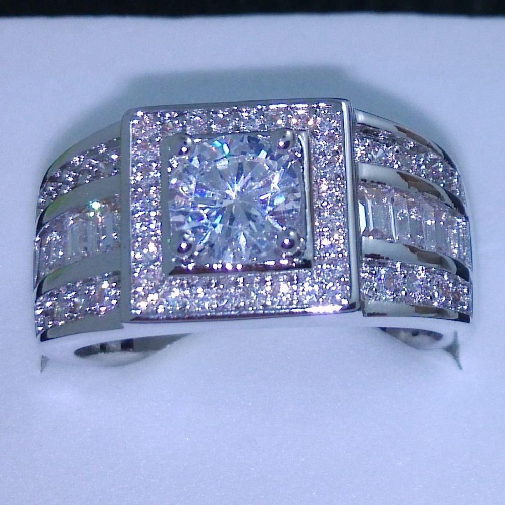 011 Celebrity design Rhythmic Harmony Men 10KT oro blanco relleno topacio diamante anillo de bodas Sz 7-13 envío gratis