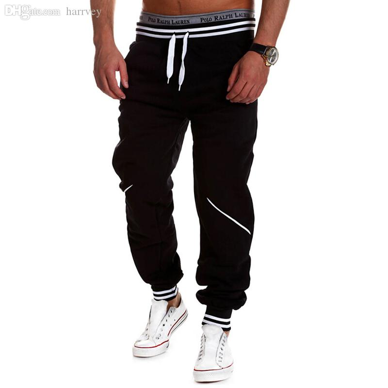 Gros-PUNKOOL Hommes Gym Sweat Pantalons 2016 Nouveau mode en vrac coton hommes occasionnels Joggers Sweatpants Survêtement Sport Hommes Pantalons Hombre