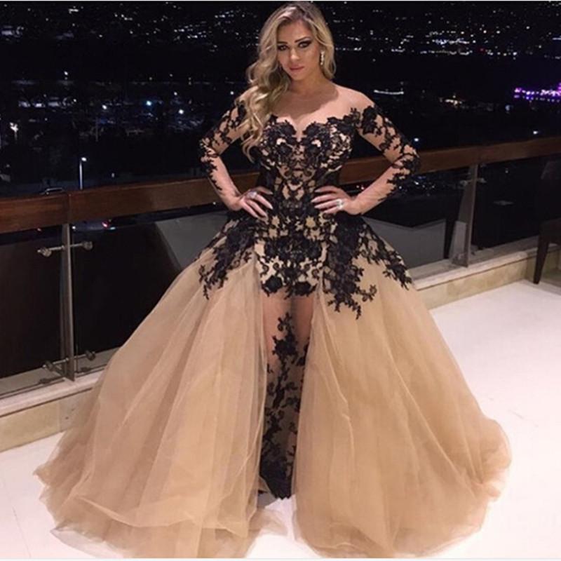 Champanhe e Preto Vestidos de Noite 2016 com Mangas Compridas Árabe Médio Oriente estilo Applique Lace Sheer neck Formal Prom Pageant Vestidos