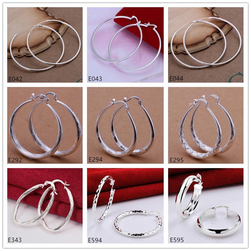 Das Sterlingsilber der nagelneuen Frauen überzog Ohrring 10 Paare viel Mischart EME58, runde Ohrringe der hochwertigen Art und Weise 925 silberne Platten-Kreise