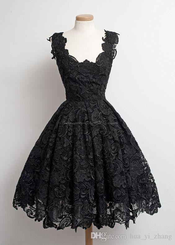 Vintage Classic Little Black Dresses 1950's A-line Scalloped-Edge Knee-Length 50s Lace Black Prom/Party/Homecoming Dresses