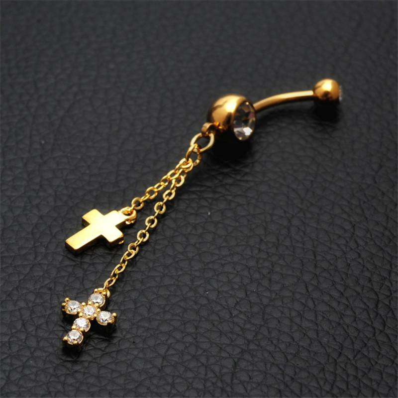 2018 Allergy Free Cross Navel Rings 316l Surgical Steel Fashion Dangle Belly Button Rings Fashion Jewelry For Women Belly Piercing Body Jewelry From