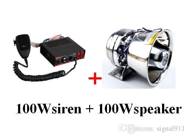 Haute qualité 100W sirène de police voiture avertisseurs d'alarme amplificateurs avec microphone + 1unit 100W haut-parleur en acier inoxydable