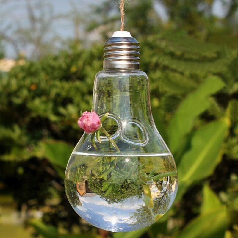 5pcs Clear Glass Light Bulb Vase Hanging Lamp Shape Hydroponic Flower Plant Terrarium for DIY Home Office Wedding Decoration