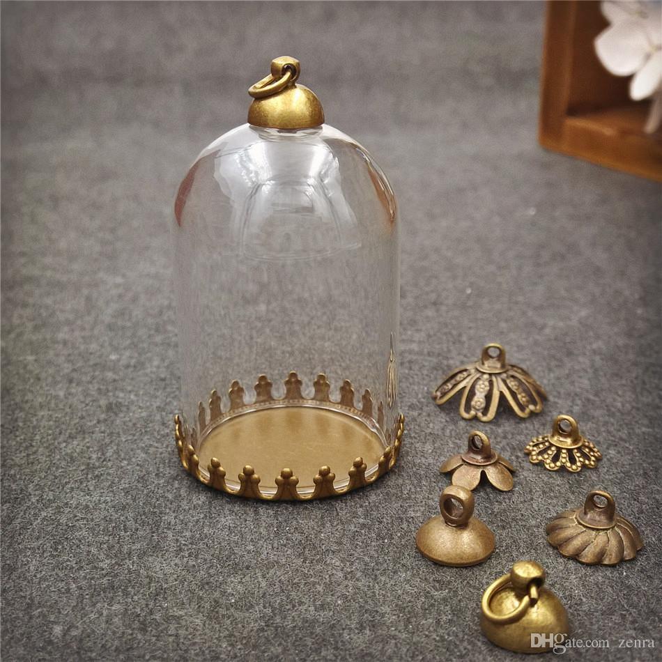 10 pz / lotto 38 * 25mm tubo bottiglia di vetro globo con piccola corona base set vetro cupola coperchio di vetro fiala pendente di fascini fatti a mano gioielli fiala di vetro