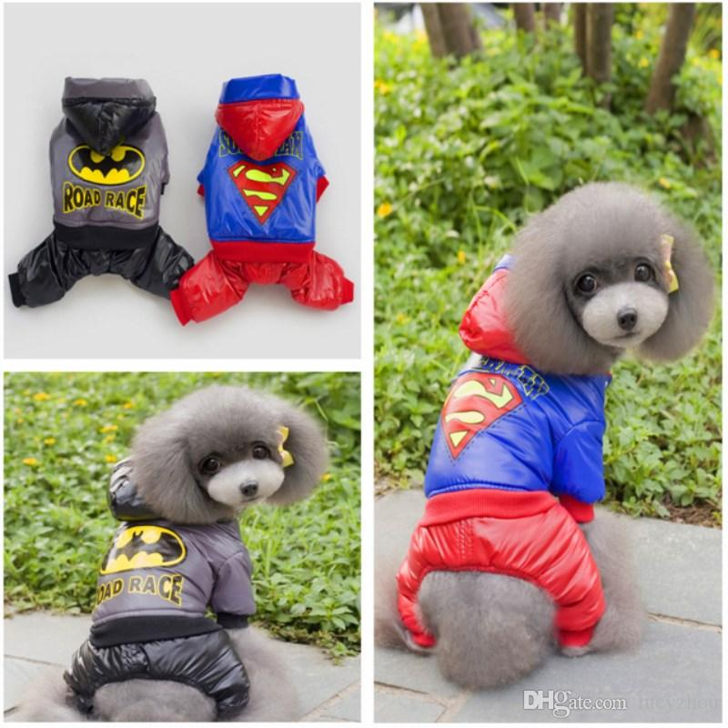 Superman Dog Pet Sweater Cheap Teddy Dog Hooded Soprts Vest Winter Pet Warm Coat 5 Size 2 Color Min Order 25PCS