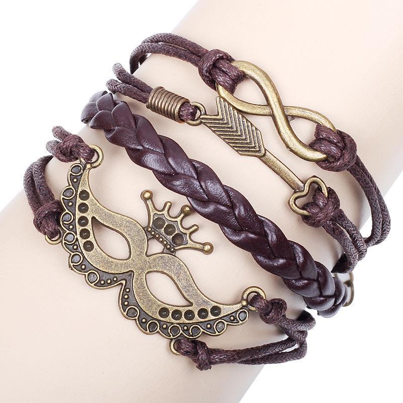 New Infinity LOVE Heart Halloween Party Mask Leather Bracelet Copper Sport Wristband Vintage Cupid Charm Braided Bracelets