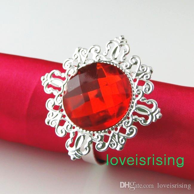 Gratis frakt-100pcs högkvalitativ röd pärla pärla vintage stil servett ringar bröllop brud dusch servetthållare - gratis frakt