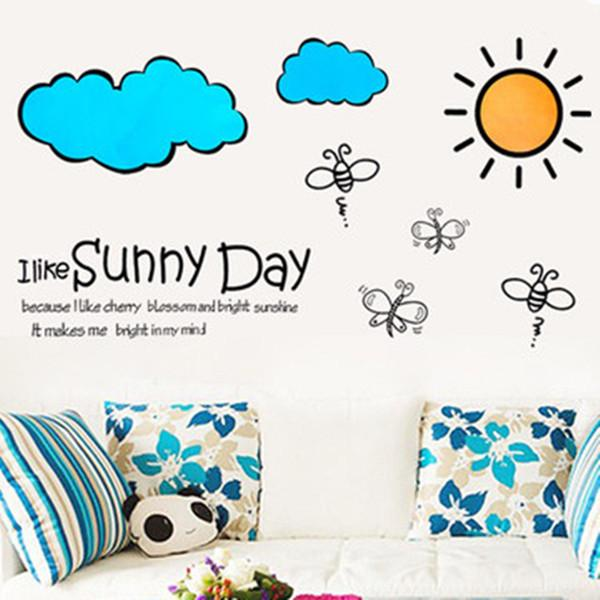 Großhandel / Removable Kreative Karikatur Sunny Day Kinder Wand Aufkleber  Dekor Schlafzimmer Kinderzimmer / Kinderzimmer Dekoration Aufkleber 33 *  60cm Von ...