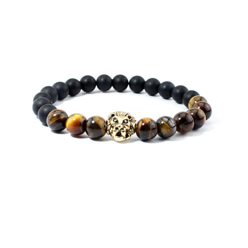 2016 Newest Gold Buddha Natural Stone Tiger Eye Matte Black Fashion Agate Lion Head Unisex Bracelet Mens Party Gift Bracelets