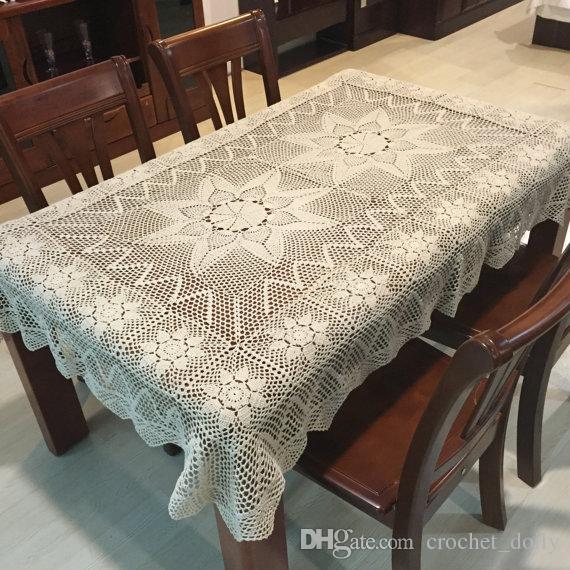 100% di copertura tavolo mano oblungo, a mano tovaglie uncinetto, cotone tovaglia rettangolare, regalo di compleanno per Opzioni mamma, bianco e beige