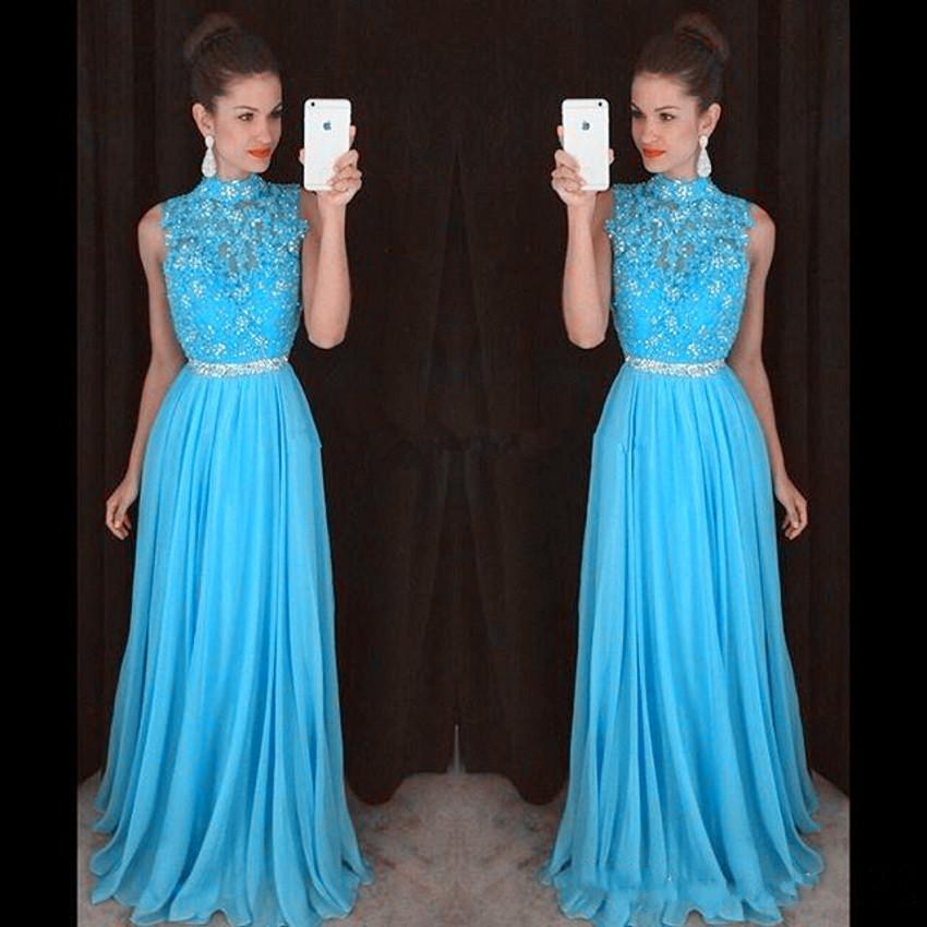Luz Céu Azul Vestidos de Baile Rendas Beading Formal Longo Da Dama de Honra Vestido de Baile Vestidos Com Gola Alta Zíper de Volta Tecido Chiffon