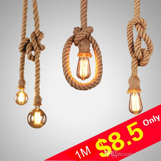 L6-Personality Rope Pendant Light Creative Retro Vintage Lamp Loft Industrial Lamp 1/2 Meter For Dining Living Bed Room