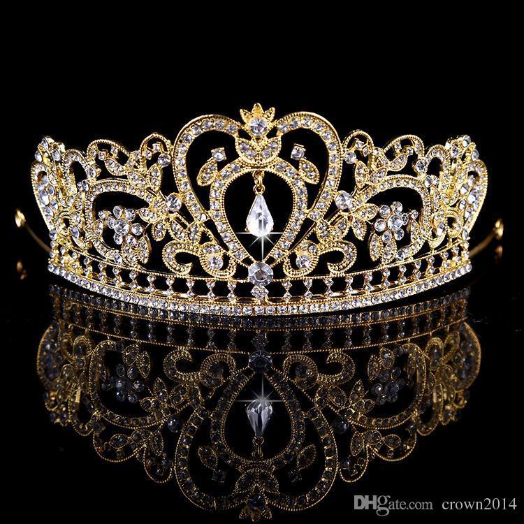Bling moldeados coronas cristales de boda 2020 diamante joyería nupcial del Rhinestone de la venda del pelo Corona Tiara partido de los accesorios envío libre barato