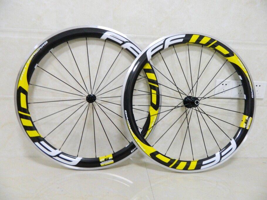 Aluminum Ffwd Carbon Wheel Yellow Decal Carbon Fiber Wheelset 700C Road Clincher Wheelset 50mm R36 Hub