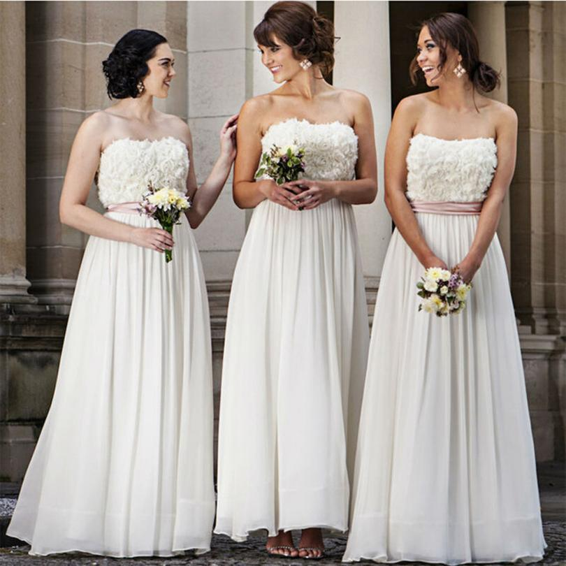 Bridesmaid Dresses 2016 New Cheap Strapless Top Lace Flowers Chiffon Long For Wedding Plus Size Party With Sashes Maid of Honor Gowns