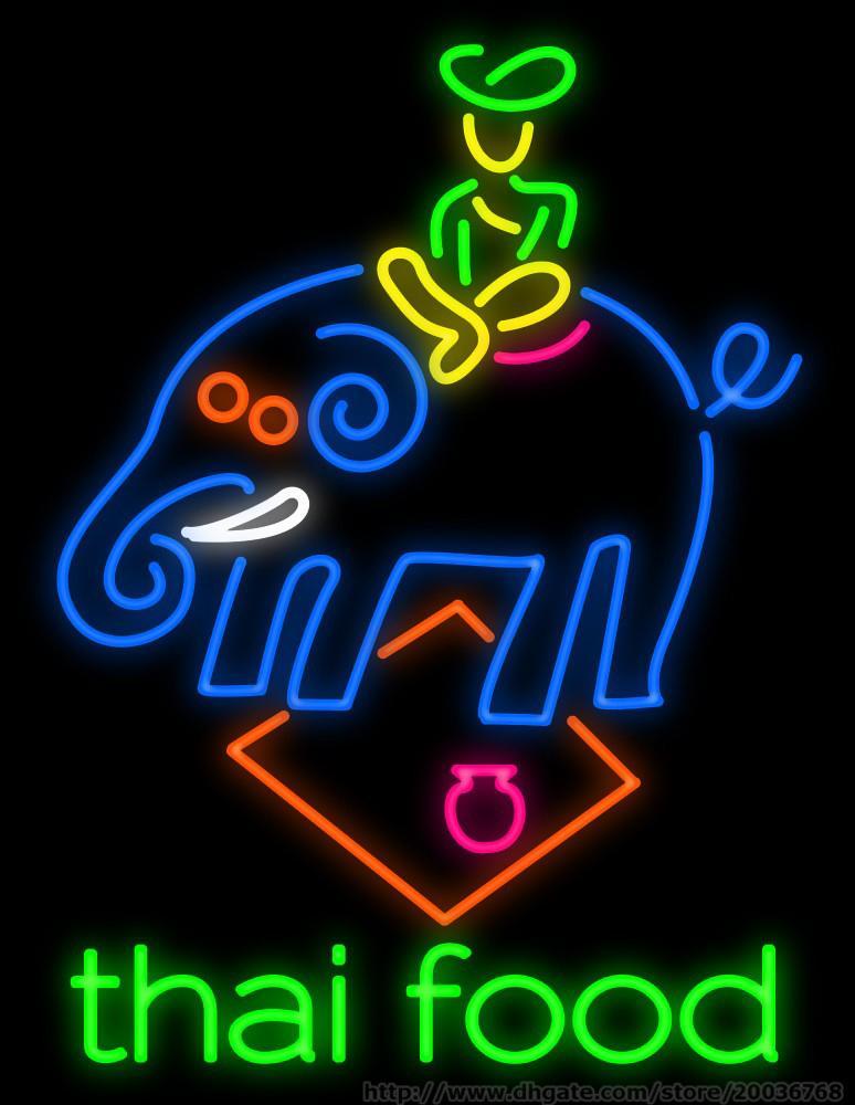 """Thai Food Elefant Neonzeichen Benutzerdefinierte handgemachtes reales Glasrohr Restauant Thailand Geschirr Essen Werbung LED-Anzeige Leuchtreklamen 24 """"X30"""""""