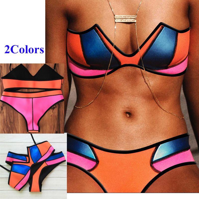 2016 Nova Neoprene Multicolor Biquíni Maillot Nageur Cor Contraste Sexy Bikini Crochet Swimwear Maiô Montagem Terno de Natação