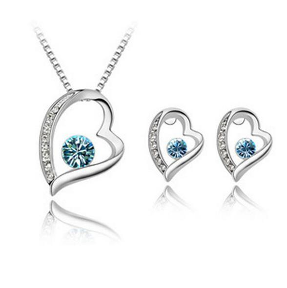 Mode Frauen Österreichischen Kristall Herz Ewigen Charme Halskette Ohrringe Schmuck Sets Versilbert Brautschmuck Sets