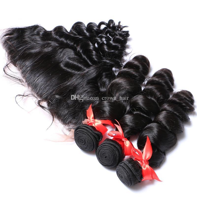 귀에 귀에 머리 뭉치를 가진 가득 차있는 레이스 정면 4Pcs / Lot 레이스 Frontals를 가진 브라질 느슨한 파운 Virgin 인간적인 머리 뜨개질 Blenched 매듭