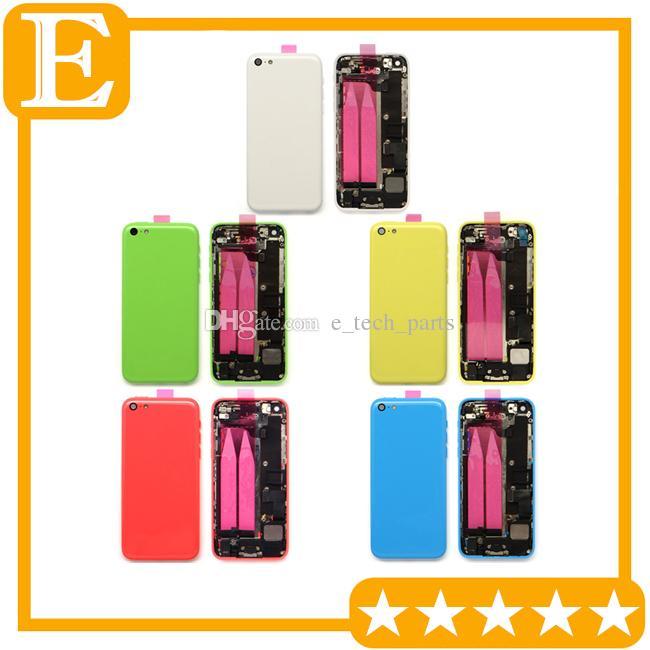OEM parçaları Tüm Konut Kurul Yedek Parçaları 1 adet / lot ile iphone 5C Arka Pil Kapı Kapak Kılıf Orta orta Çerçevesi