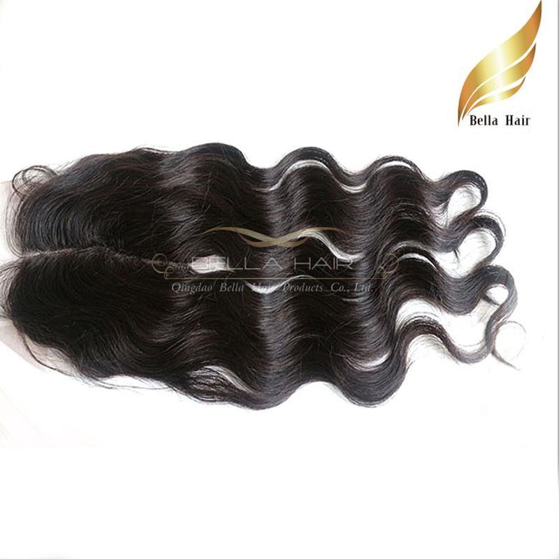 ペルーレースクロージャーバージン人間の髪の髪の伸縮中央部分レースの閉鎖トップ閉鎖4x4ベラエアドロップ輸送ボディーウェーブ