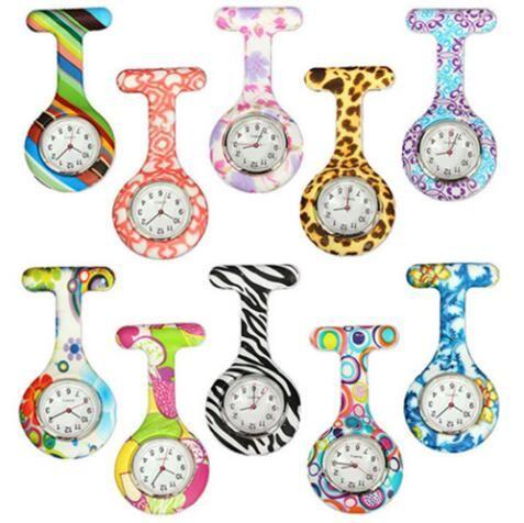 실리콘 간호사 시계 의료 간호사 시계 다채로운 인쇄 패턴 포브 쿼츠 시계 의사 시계 포켓 의료 시계 CCA7903 1000pcs