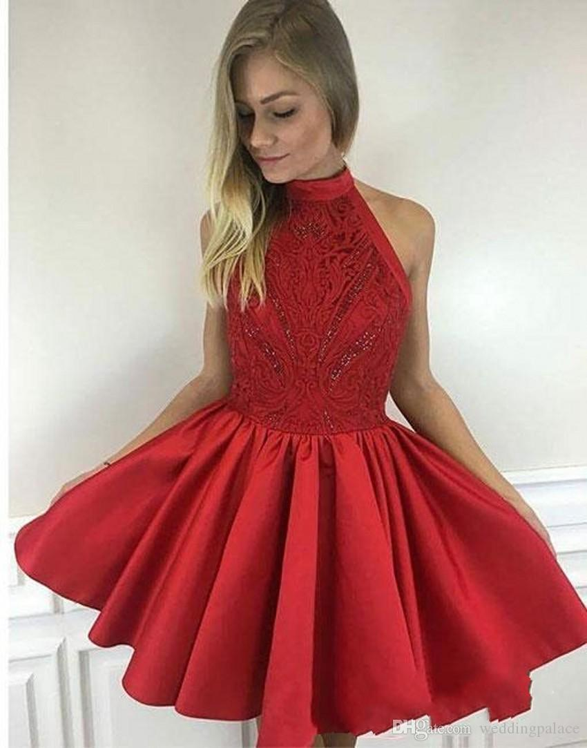 Newest Cute Mini Short Red Homecoming Dresses High Neck Satin Little Short  Prom Party Dresses Special Occasion Dresses Designer Homecoming Dresses