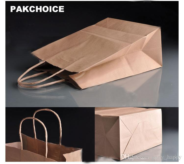 2016 Personalized Vintage Brown Paper Favour Bags Thick Paper Bag Shopping Bag Packing Handbags Women Bags Gift Bags Wedding Party Gift