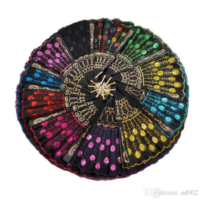 Блестки танцы вентилятор творческий дизайн Павлин складные ручные вентиляторы женщины этап производительность опора многоцветный 1 8zq C RC
