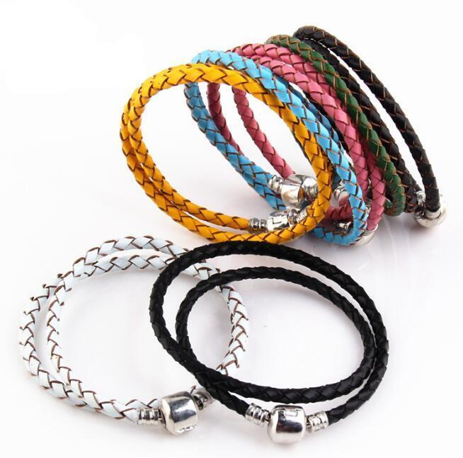 Haute qualité Fine Jewelry Woven 100% cuir véritable Bracelet Mix taille 925 argent fermoir perle Convient Pandora Charms Bracelet marquage bricolage