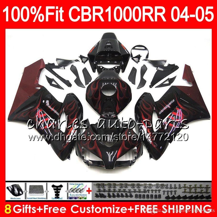 Injection Body For HONDA Red flames CBR 1000RR 04 05 Bodywork CBR 1000 RR 79HM19 CBR1000RR 04 05 CBR1000 RR 2004 2005 Fairing kit 100% Fit