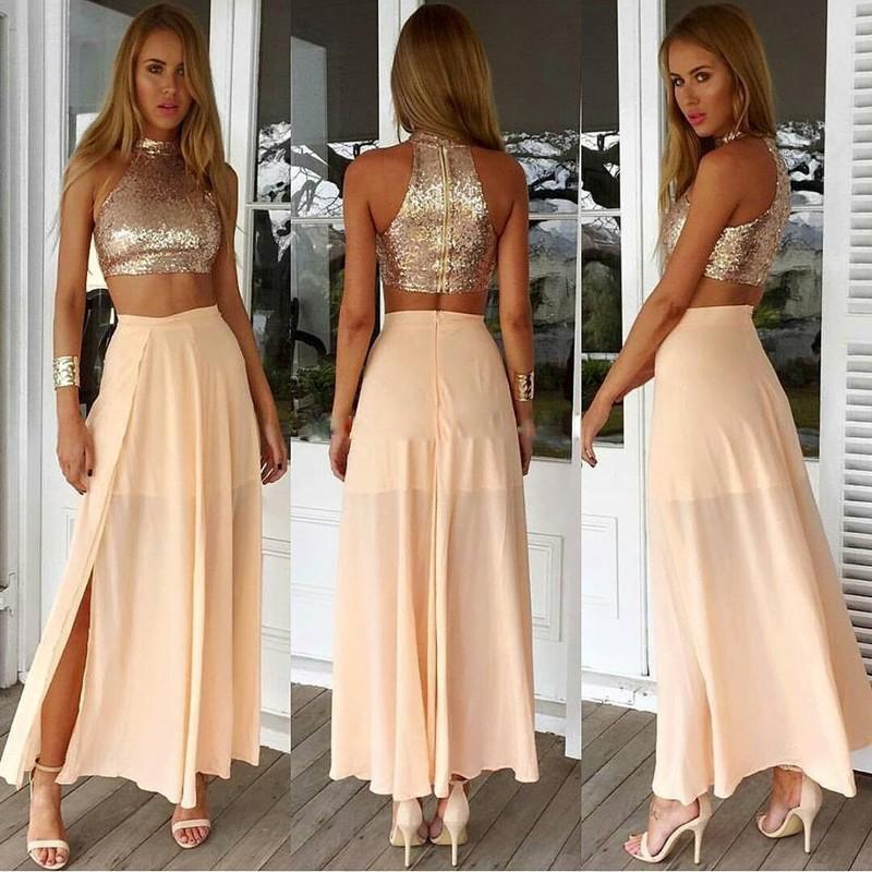 2016 Sexy due pezzi Homecoming Dress Girls Chiffon paillettes caviglia lunghezza 8 ° grado Prom Abiti Homecoming con spacco laterale diviso