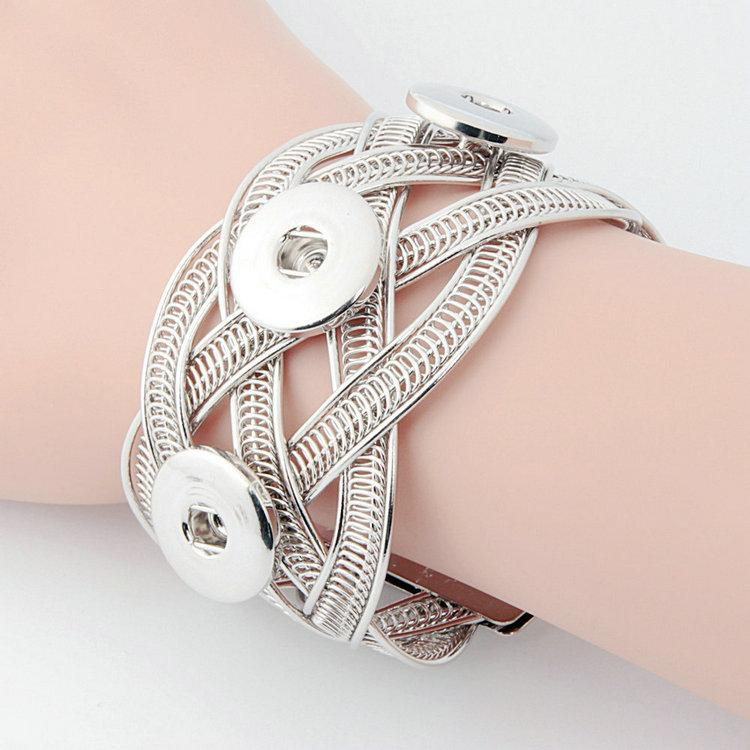 NO.t6 Vente Chaude Snap Bracelets Argent Plaqué Haute Qualité DIY Snap Bijoux Snap Boutons