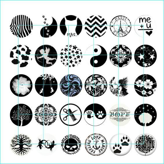 Frete grátis preto e branco botão snap jóias charme popper para pulseira 30 pçs / lote GL001 jóias fazendo