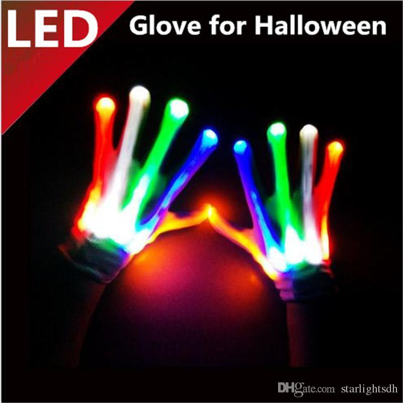 LED Halloween Gloves glow Light Gloves glitter led glow glove Flashing LED Glove Halloween Light Party supply ouc1087