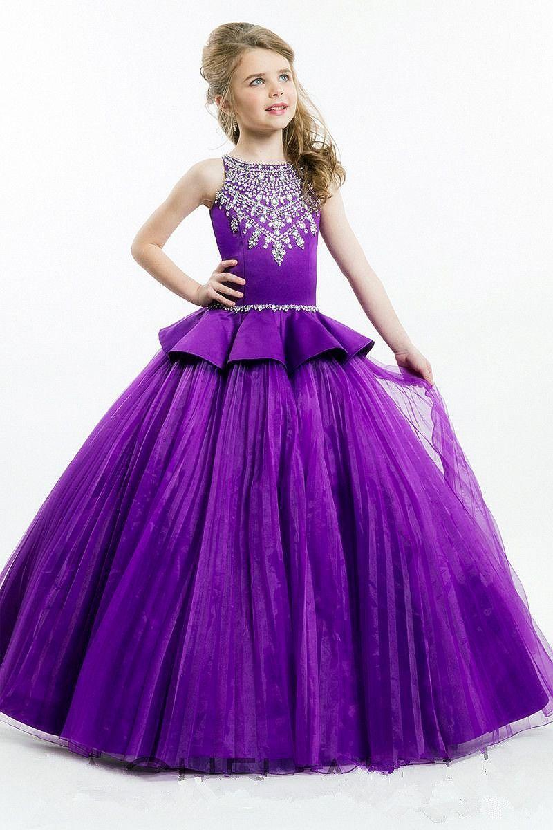 großhandel lila ballkleid prinzessin girls festzug kleider sparkling perlen  kristalle reißverschluss zurück nette mädchen blumenmädchen kleider von