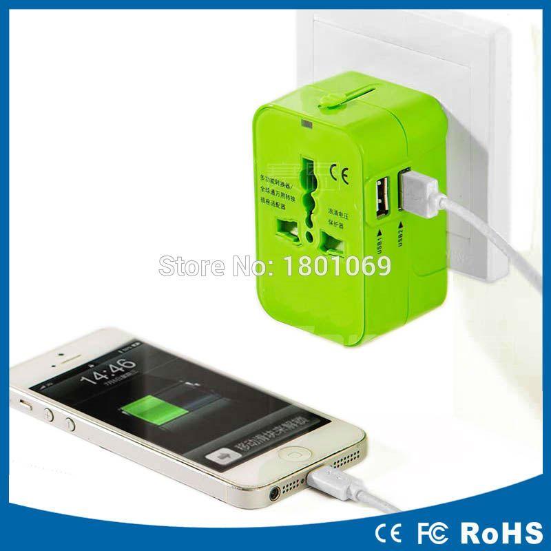 Universal International Plug Adapter 2 USB Port World Travel AC Power Charger Adaptor with AU US UK EU converter Plug